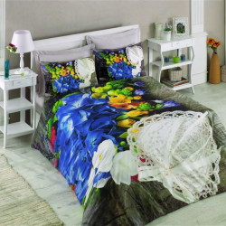 Lenjerie de pat dubla Frilly, Cotton Box, 4 piese, 240 x 260 cm, 100% bumbac ranforce, multicolora