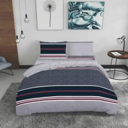 Lenjerie de pat dubla King Size, Brinle, Bedora, 4 piese, 240x240 cm, 100% bumbac, multicolor