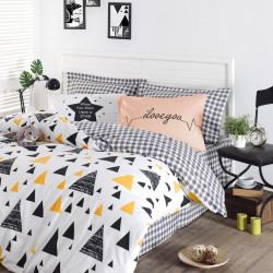 Lenjerie de pat dubla King Size, EnLora Home, Ilove Black Yellow, 4 piese, 100% bumbac ranforce, multicolor