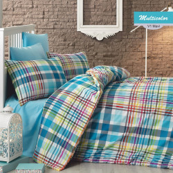 Lenjerie de pat dubla Multicolor, Majoli Home Collection, 4 piese, 200x220 cm, 100% bumbac ranforce, multicolor