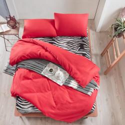 Lenjerie de pat dubla Safari - Red, EnLora Home, 4 piese, 65% bumbac si 35% poliester, rosu