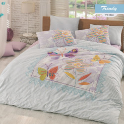 Lenjerie de pat dubla Trendy, Majoli Home Collection, 4 piese, 200x220 cm, 100% bumbac ranforce, multicolor