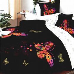 Lenjerie de Pat Finet Satinat, 6 Piese, Colorful Butterflies, FNM-103