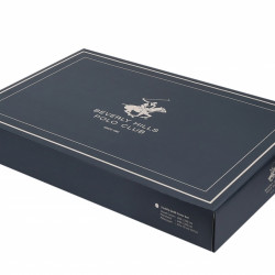 Lenjerie de pat pentru o persoana, Blue Leafs, Beverly Hills Polo Club, 3 piese, 160 x 240 cm, 100% bumbac ranforce, albastru/alb/maro