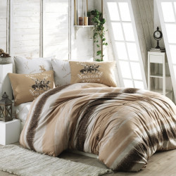 Lenjerie de pat pentru o persoana, Creamy, Beverly Hills Polo Club, 3 piese, 160 x 240 cm, 100% bumbac ranforce, somon/crem/maro