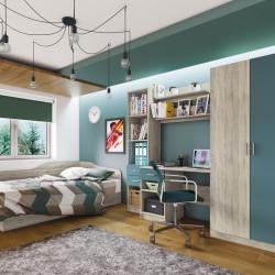 Mobilier dormitor Junior Kids, Bedora, City 5011, 220 x 52.5 x 180 cm, PAL, sonoma/albastru
