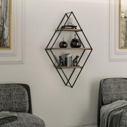 Raft pentru perete Prizma, Kalune Design, 60x21x100 cm, aluna/negru