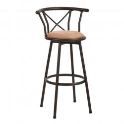 Scaun bar Bedora Iron, piele ecologica Leather Air, Maro