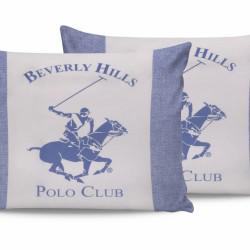 Set 2 fete de perna 50x70, 100% bumbac, Beverly Hills Polo Club, BHPC 030 - Blue, Alb/Albastru