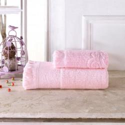Set 2 prosoape de baie Biella, Class, 100% bumbac, roz