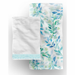 Set 2 prosoape de baie Jungle Green Leaves, Aglika, 50 x 100 cm/ 50 x 30 cm, 70% bumbac, 30% microfibra, multicolor