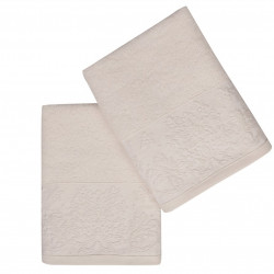 Set 2 prosoape de maini 50x90 cm, 100% bumbac, Soft Kiss, Saltanat, alb