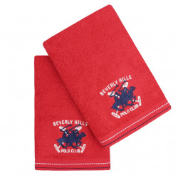 Set 2 prosoape de maini, Beverly Hills Polo Club, 401 - Red, 50x90 cm, 100% bumbac, rosu
