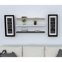 Set 3 rafturi pentru perete Boss, Puqa Design, safir/antracit/alb