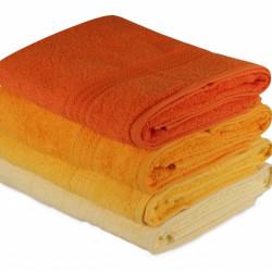 Set 4 prosoape de baie 70x140 cm, 100% bumbac, Hobby, galbe/portocaliu