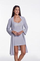 Set camasa de noapte si halat de casa, Luisa Moretti, LMS-4023, 100% bambus, argintiu, marimea 42/44 - L