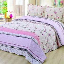 Set Cuvertura de Pat + 2 Fete de Perna, Bumbac Tip Finet, Pink Petals