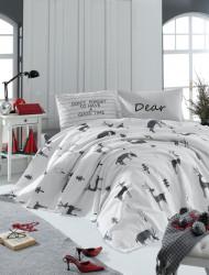 Set lenjerie de pat + cuvertura dubla GoodTime - White, EnLora Home, 4 piese, bumbac, alb