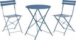 Set mobilier de gradina Bistro, 3 piese, metal, albastru