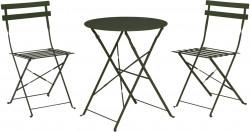 Set mobilier de gradina Bistro, 3 piese, metal, verde