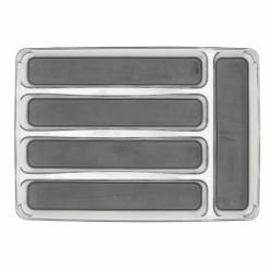 Suport organizare tacamuri cu 5 compartimente, Simple, Wenko, 23 x 32.5 cm, plastic/thermoplastic, gri
