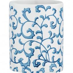 Suport periute si pasta de dinti Mirabello, Wenko, 8 x 10 cm, ceramica, alb/albastru