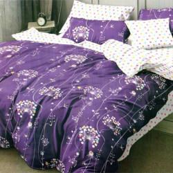 Set Lenjerie de Pat Finet Satinat, 6 Piese, Purple Flowers, FN-C263
