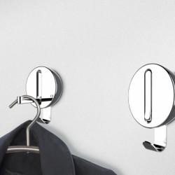 Agatatoare cuier pliabil Premium Delta, WENKO, 8 x 2.5 x 12 cm, metal cromat/plastic/magnet, gri/argintiu