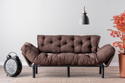 Canapea extensibila Nitta Triple, Futon, 3 locuri, 225x70 cm, metal, maro