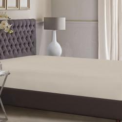 Cearceaf de pat cu elastic Bedora, 90x200 cm, bumbac ranforce, bej