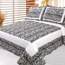Cuvertura de pat + 2 Fete de Perne, Bumbac Tip Finet, Imprimata, Pat 2 persoane, CFI-37