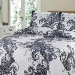 Cuvertura de pat + 2 Fete de Perne, Bumbac Tip Finet, Imprimata, Pat 2 persoane, CFI-65