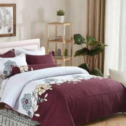 Cuvertura de pat + 2 Fete de Perne, Bumbac Tip Finet, Imprimata, Pat 2 persoane, CFI-86