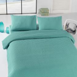 Cuvertura de pat dubla, Eponj Home, Burumcuk Green, 200x240 cm, 100% bumbac, verde