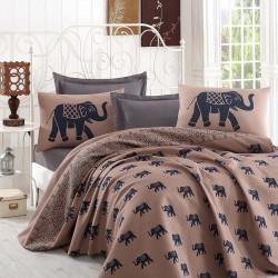 Cuvertura de pat dubla, Eponj Home, Fil Blue, 200x235 cm, 100% bumbac, maro/bleumarin