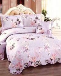 Cuvertura de pat si 4 Fete de Perna, Pat 2 Persoane, Bumbac 100%, Flori Mov, E-S114