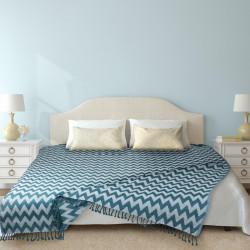 Cuvertura Pled Stripes, Heinner, 127x152 cm, 75% bumbac si 25% poliester, turcoaz