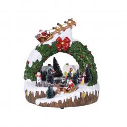 Decoratiune cu lumini si miscare Xmas scene 2, 8 figurine, polyston, multicolor