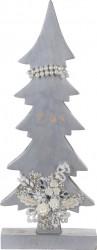 Decoratiune Xmas Tree w pearls , 17x5.8x43 cm, lemn de mango, alb/argintiu