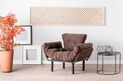 Fotoliu extensibil Nitta Single, Futon,135x70 cm,metal, maro