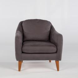 Fotoliu Soli Berjer, Unique Design, 71x77x84 cm, lemn de pin/textil, antracit