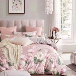 Lenjerie Bumbac 100% - 4 Piese - Pat 2 Persoane - Rose Garden - BL4-17