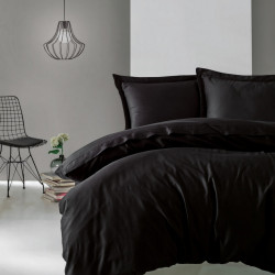 Lenjerie de pat dubla, 4 piese, 100% bumbac satinat, Cotton Box, Premium Elegant, negru