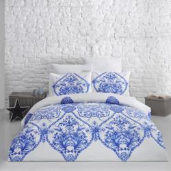 Lenjerie de pat dubla Blue, Majoli Home Collection, 4 piese, 200x220 cm, 100% bumbac ranforce, albastru