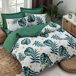Lenjerie de pat dubla, EnLora Home, Monstera Green, 4 piese, policoton, alb/verde/galben