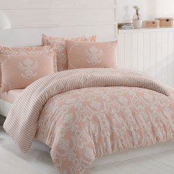 Lenjerie de pat dubla, Eponj Home, Pure Powder, 4 piese, policoton, roz/alb