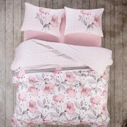 Lenjerie de pat dubla Juana, Bedora, 4 piese, 240x260 cm, bumbac ranforce, roz