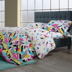 Lenjerie de pat dubla King Size Puzzle V.1, 4 piese, 220 x 250 cm, 100% bumbac, multicolora