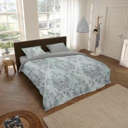 Lenjerie de pat pentru doua persoane, Descanso Beau, 100% bumbac satinat, 3 piese, gri/menta