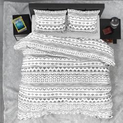 Lenjerie de pat pentru doua persoane, Satin Scandino White, Royal Textile, 3 piese, bumbac satinat, alb/gri